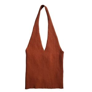 NEW Forever 21 Camel Brown Ribbed Halter Top